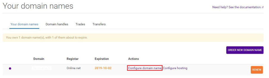 Domain name configuration